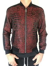 Angelino  Red Black Crocodile Design Zip Up Dress Casual  Bomber Jacket sz Small