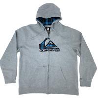 Quiksilver Sweater Men's Size XL Gray Full Zip Hoodie Surfer Skater Plaid Logo