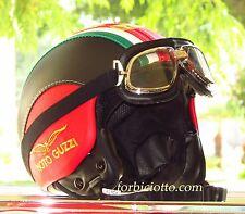 Casco vintage tricolore 150° in pelle bandiera Italiana Italia Moto Guzzi Vespa