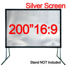 """200""""16:9 Wall Mounted Profile Metal Gray Silver Projection Screen for Projectors"""