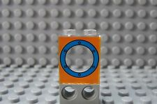 LEGO Panel 1 x 2 x 2 with Porthole Blue on Orange Background 3827 3818 3834 3830
