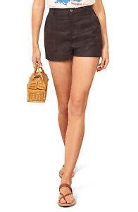 Reformation Sterling Linen Short: Size 2: Black (146)