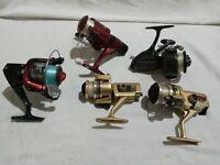 Vintage Lot of 5  Fishing Spinning Reels Shakespeare 2210 Ryobi Zebco Matzu etc.