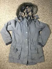 Free People Faux Fur Hooded Lined Jacket Size 10 Factory Distressed $298 Retail