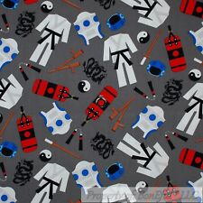 BonEful Fabric Cotton Quilt Gray Red B&W Blue Chinese Dragon Karate Kid US SCRAP