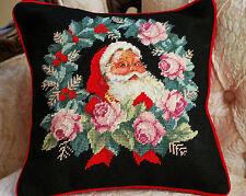 """14x14"""" Handmade Christmas Santa with Wreath Needlepoint Pillow Cushion"""