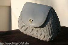 Vintage 70's Courreges Paris Leather Wicker Evening Bag Clutch Purse Galanos Era