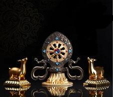 BLESSED 16CM HIGH TURNING WHEEL & DEER GOLD GILT STATUE TIBETAN ALTAR MUST!