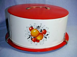 """Vintage Cake Carrier Saver Metal DECOWARE Painted Red White w/ Fruit 11.5"""" x 5"""""""