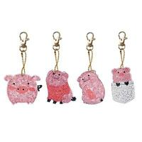 4pcs/Set DIY Diamond Painting Cartoon Pig Resin Bag Keychain Jewelry Gift