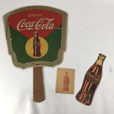 Vintage 1950's Coca-Cola Hand Held Fan, Bottle & Square Coupons Drink Coke COOL