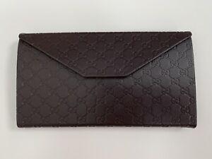 GUCCI Monogram Leather Foldable Sunglasses Case - Brown