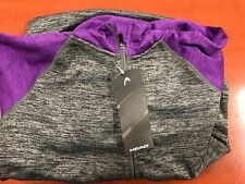 Head Girls Color Purple Charcoal Gray Heather Jacket Hoodie Size M-10/12 NWT