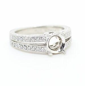 PLATINUM 4 PRONG ROUND DIAMOND SPLIT SHANK SEMI-MOUNT ENGAGEMENT RING 4.75US