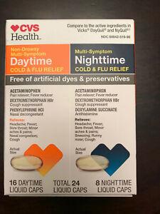 CVS Non-Drowsy Multi-Symptom  Day+Nighttime Cold&Flu Relief 24 Liq.cap Exp:2/21