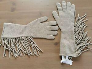 🌟Weekend  MAX MARA Beige  Knitted  Fringed Virgin Wool  Gloves    One size