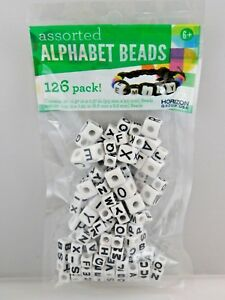 Assorted Alphabet Cube Letter Beads - Black and White Cubes - for Crafts/Jewelry