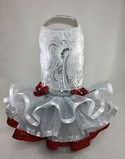 Pet Dog Dress Special Occasion Silver Red NORTH STAR tutu XXS, XS, SMALL, MED