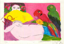 Picture Postcard~ Walasse Ting, Image With Parrots