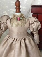 Antique Style Juliet Victorian Doll Dress Taupe Shantung 4 French German 17-19""