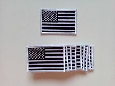 """10 USA American Flag (Black/White) Embroidered Patches 3.5""""x2.25"""" iron-on"""