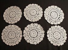 "6 Antique Goblet 6"" Round Needlelace Cocktail Coasters"