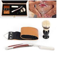 440C Steel Folding Straight Razor Shaving Kits Set with Brush Wooden Box Gift