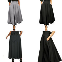 Women High Waist Pleated A Line Ankle-Length Skirt Front Slit Belted Maxi Skirt