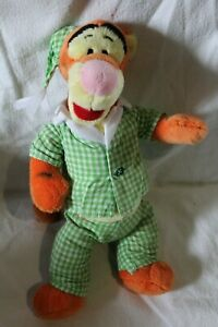 Doudou Tigrou orange jaune en pyjama vert blanc vichy DISNEY NICOTOY 33 cm