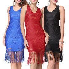 Women Slim Dress Hot Lace Flower Bodycon Tassel Fringe Flapper Mini Skirt Summer