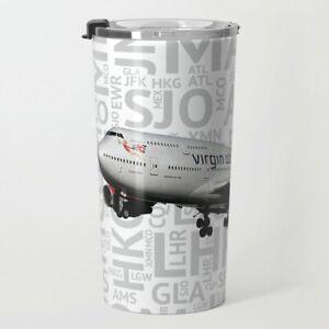 Virgin Atlantic 747-400 with Airport Codes - Metal Travel Mug (20oz)