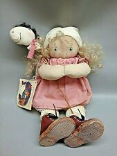 "Jan Shackelford Cloth doll Small Fry Series 1992 15"" Girl w Hobby Horse w tag"