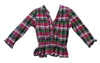 Baby Girls Primark Pink Green Check Long Sleeve Shirt Blouse Age 12-18 Months