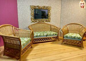 1:6 Dollhouse cane rattan living room set sofa armchairs tropical green - Barbie