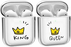 2 x PACK for Airpods 1 / 2 - Clear Earphone Hard Plastic Case Cover KING & QUEEN