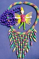 Tinker Bell Inspired Mardi Gras Beads Pendant Necklace New Orleans +Bonus+