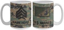 Marine Coffee Mug - USMC personalized name and rank 15 oz cup - Gift for veteran