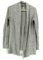 Poof Women's Medium M Cotton Blend Stretch Open Cardigan Light Sweater Gray