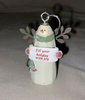 """Ceramic Snowman Glitter 2"""" Ornament """"Fill Your Holiday With Joy"""" NEW"""