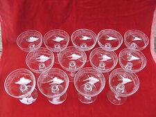 lot 13 coupes à champagne cristal baccarat ou st louis gravées anciennes XIXème