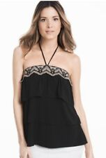 WHBM strapless embroidered trim tiered tube top w/removable tie black sz L