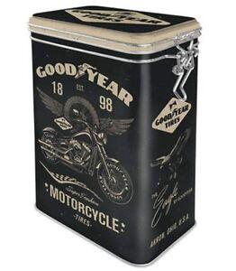 GOOD YEAR Motorcycle TIRES 3D CLIP TOP STORAGE TIN Cookie Jar