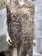 New Light Brown Giraffe Print Pashmina Silk Cashmere Shawl Scarf Stole Wrap ps28