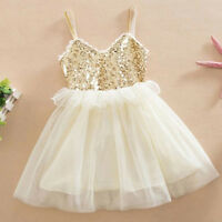 Toddler Kids Baby Girl Princess Tutu Dress Sequin Wedding Party Tulle Dress Hoc