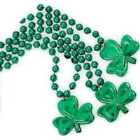 3 Pack St. Patty's Day 33'' Shamrock 8mm Beads Metallic Necklace Unisex