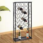 Metal Wine Home Bar Storage Holder Rack Floor Stand - Holds 28 Bottles - Black