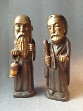 """Pair of Vintage Hand Carved Wood Statue Catholic Monks Made in Spain 13.5"""" Tall"""