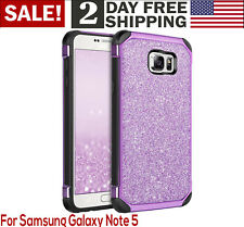 Galaxy Note 5 Case Bling Glitter Sparkle Cute Girls Samsung Phone Cover Purple