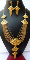 Indian 22K Gold Plated 12 Inch Long Fashion Necklace Earrings Weddings Set L