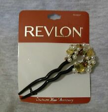 NEW REVLON COUTOURE HAIR ACCESSORY STICK BLACK W/ GOLD & PEARLS FREE SHIP TO US